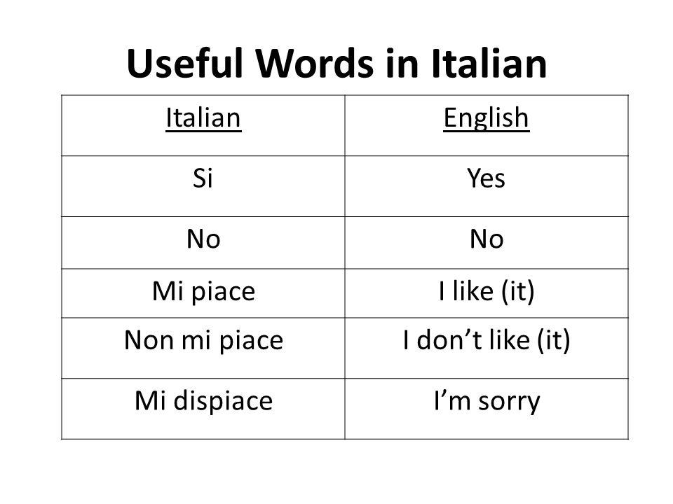 Useful Words in Italian ItalianEnglish SiYes No Mi piaceI like (it) Non mi piaceI dont like (it) Mi dispiaceIm sorry