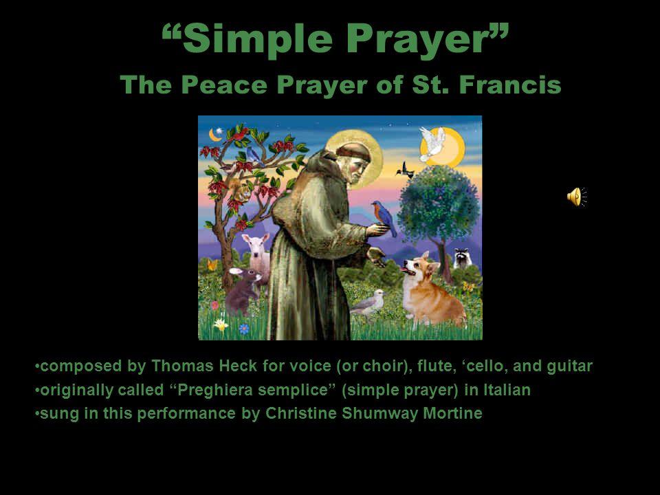 Leader or soloist sings O Signore, fa di me uno strumento della tua Pace: