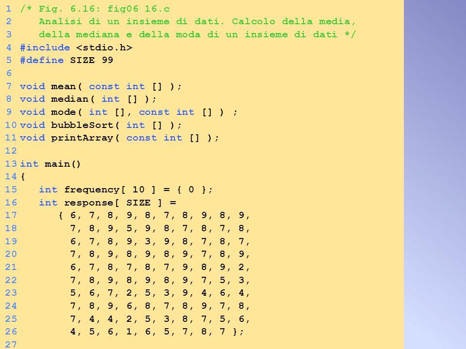 1/* Fig. 6.16: fig06_16.c 2 Analisi di un insieme di dati. Calcolo della media, 3 della mediana e della moda di un insieme di dati */ 4#include 5#defi