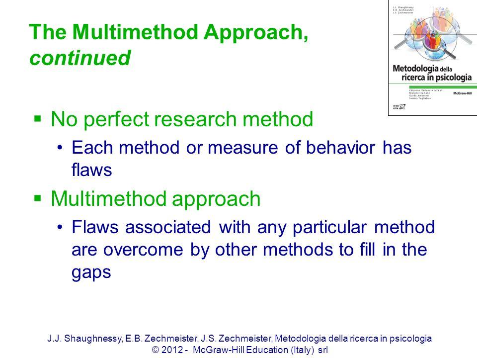 J.J. Shaughnessy, E.B. Zechmeister, J.S. Zechmeister, Metodologia della ricerca in psicologia © 2012 - McGraw-Hill Education (Italy) srl The Multimeth