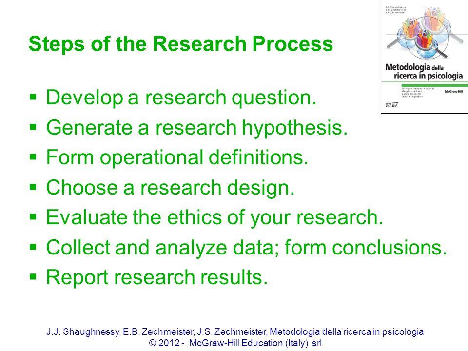 J.J. Shaughnessy, E.B. Zechmeister, J.S. Zechmeister, Metodologia della ricerca in psicologia © 2012 - McGraw-Hill Education (Italy) srl Steps of the