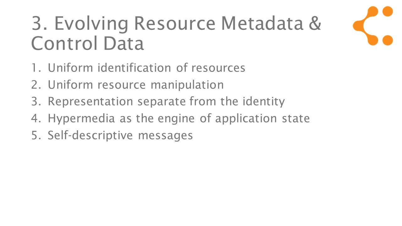 3. Evolving Resource Metadata & Control Data 1.Uniform identification of resources 2.Uniform resource manipulation 3.Representation separate from the