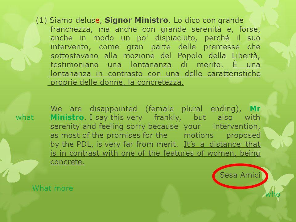 (1) Siamo deluse, Signor Ministro.