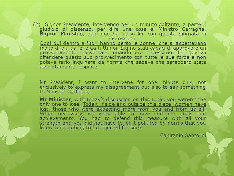 (2) Signor Presidente, intervengo per un minuto soltanto, a parte il giudizio di dissenso, per dire una cosa al Ministro Carfagna.