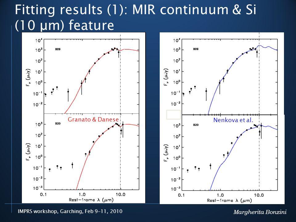 IMPRS workshop, Garching, Feb 9-11, 2010 Fitting results (1): MIR continuum & Si (10 μm) feature Nenkova et al.