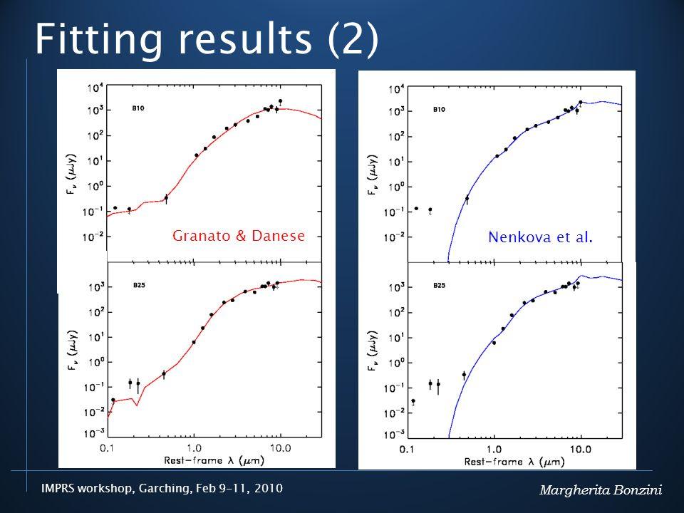 IMPRS workshop, Garching, Feb 9-11, 2010 Fitting results (2) Margherita Bonzini Granato & Danese Nenkova et al.