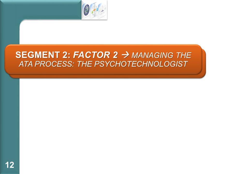 SEGMENTO 2: FATTORE 2 DIRIGERE LATA PROCESS: LO PSICOTECNOLOGO 12 SEGMENT 2: FACTOR 2 MANAGING THE ATA PROCESS: THE PSYCHOTECHNOLOGIST