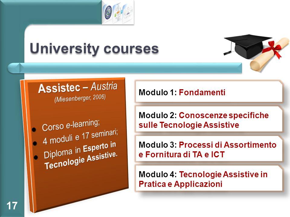 University courses 17 Modulo 1: Fondamenti Modulo 2: Conoscenze specifiche sulle Tecnologie Assistive Modulo 3: Processi di Assortimento e Fornitura d