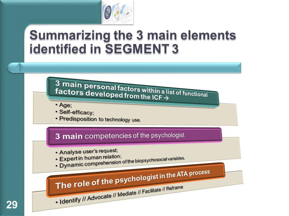 Summarizing the 3 main elements identified in SEGMENT 3 29