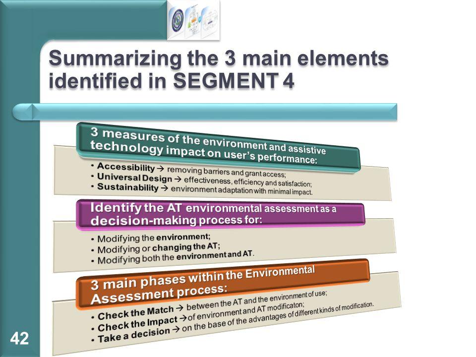 Summarizing the 3 main elements identified in SEGMENT 4 42