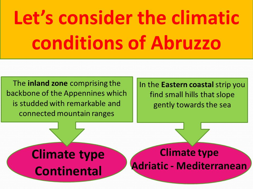 Lets consider the climatic conditions of Abruzzo Climate type Adriatic - Mediterranean In the Eastern coastal strip you find small hills that slope ge