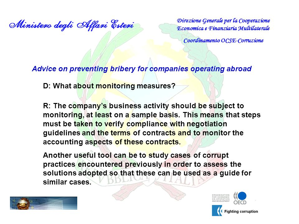Advice on preventing bribery for companies operating abroad D: What about monitoring measures.