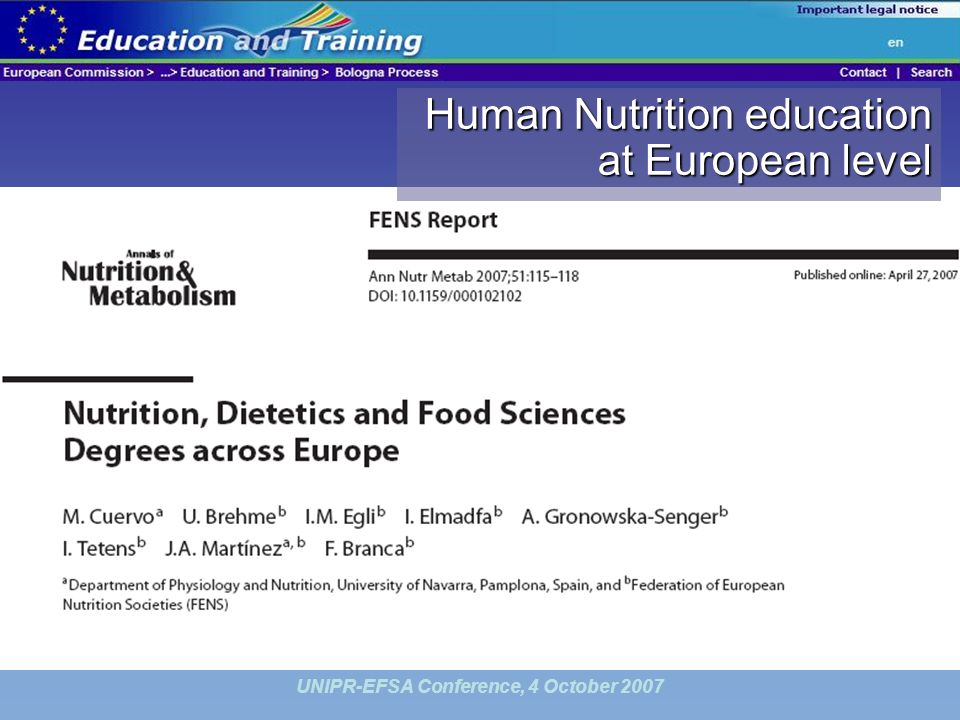 UNIPR-EFSA Conference, 4 October 2007 Human Nutrition education at European level