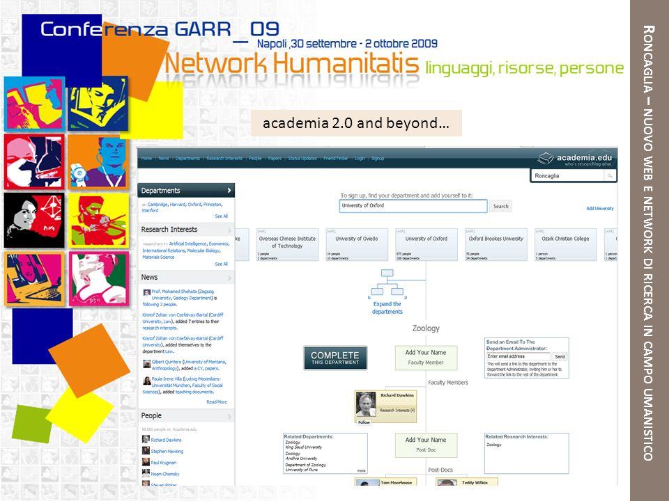 R ONCAGLIA – NUOVO WEB E NETWORK DI RICERCA IN CAMPO UMANISTICO academia 2.0 and beyond…