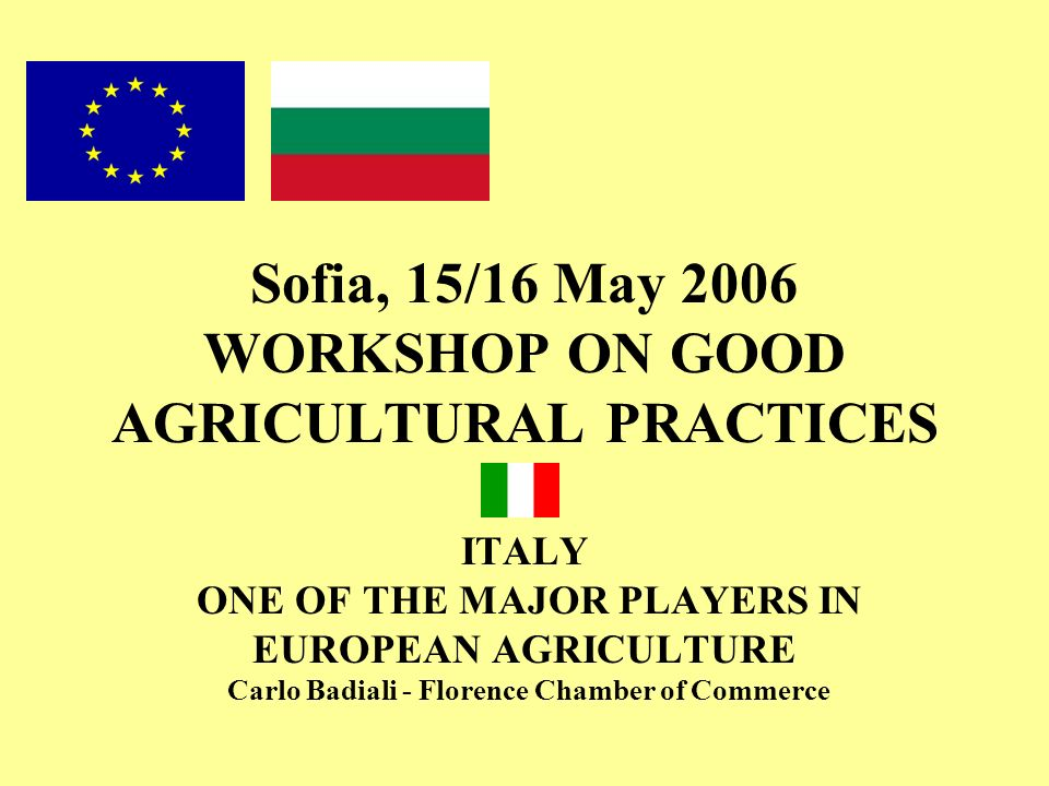 Sofia, 15/16 May 2006 WORKSHOP ON GOOD AGRICULTURAL PRACTICES ITALY ONE OF THE MAJOR PLAYERS IN EUROPEAN AGRICULTURE Carlo Badiali - Florence Chamber of Commerce