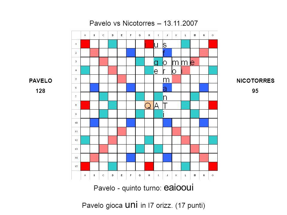 Pavelo - quinto turno: eaiooui Pavelo gioca uni in I7 orizz.