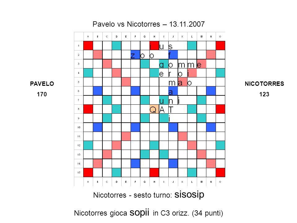 Nicotorres - sesto turno: sisosip Nicotorres gioca sopii in C3 orizz.