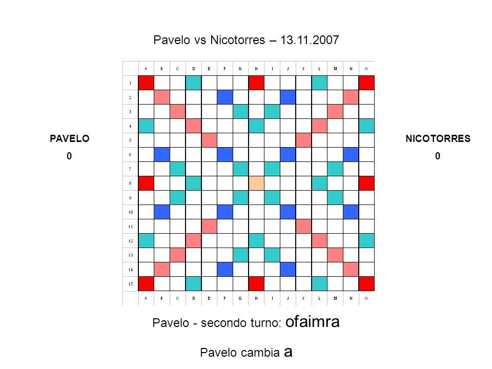 Pavelo - secondo turno: ofaimra Pavelo cambia a Pavelo vs Nicotorres – 13.11.2007 PAVELO 0 NICOTORRES 0