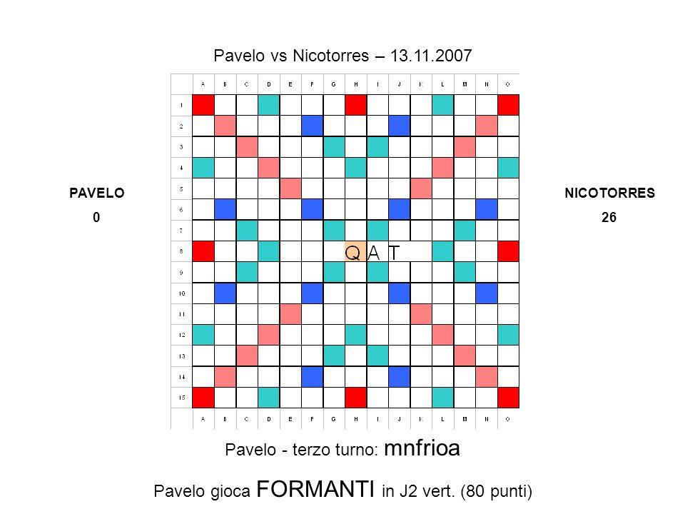 Pavelo - terzo turno: mnfrioa Pavelo gioca FORMANTI in J2 vert.