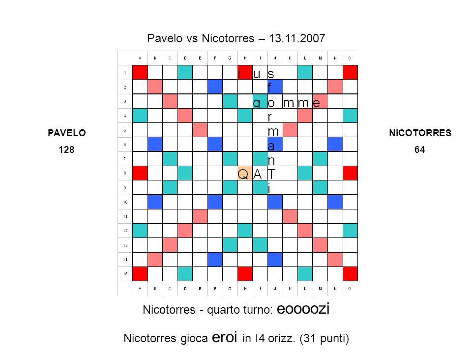 Nicotorres - quarto turno: eoooozi Nicotorres gioca eroi in I4 orizz.