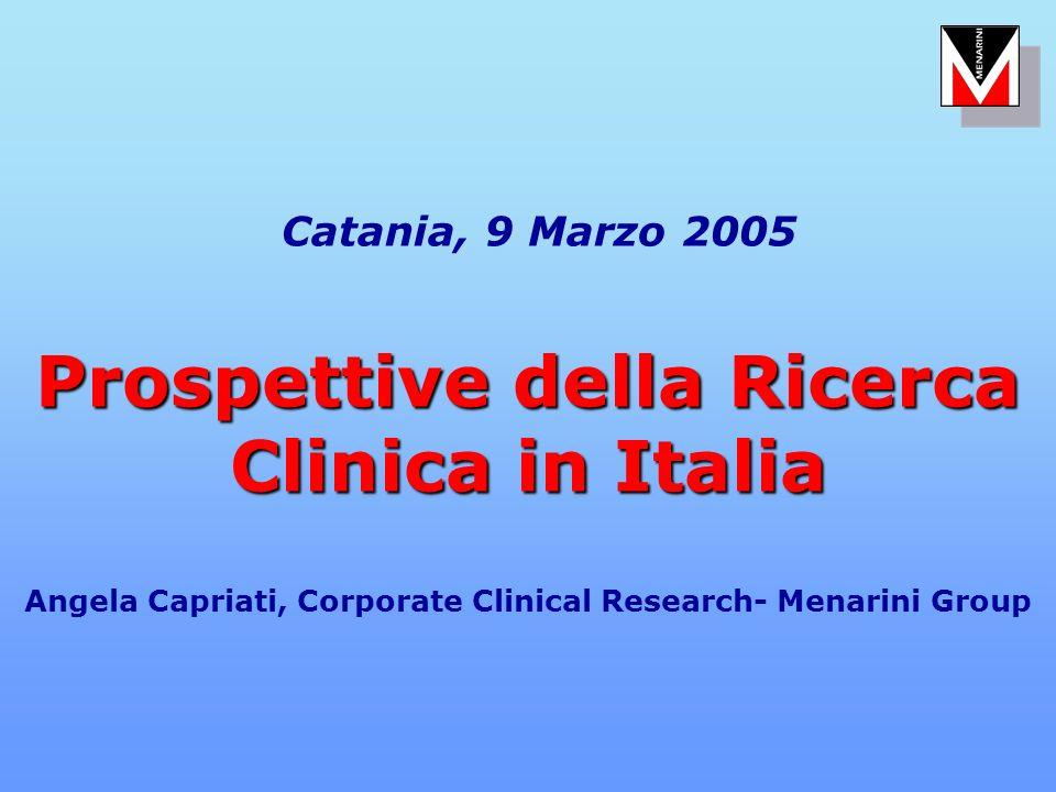 Prospettive della Ricerca Clinica in Italia Catania, 9 Marzo 2005 Prospettive della Ricerca Clinica in Italia Angela Capriati, Corporate Clinical Rese