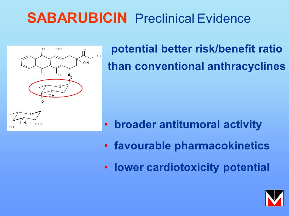 potential better risk/benefit ratio than conventional anthracyclines SABARUBICIN Preclinical Evidence broader antitumoral activity favourable pharmaco