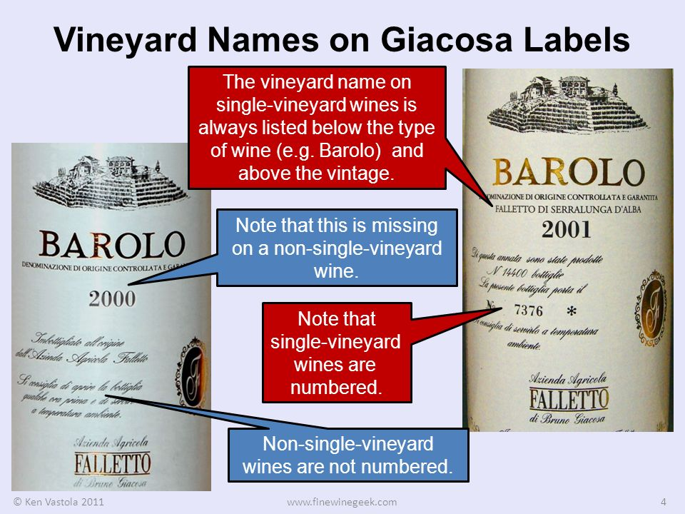 Vineyard Names on Giacosa Labels © Ken Vastola 2011www.finewinegeek.com4 The vineyard name on single-vineyard wines is always listed below the type of wine (e.g.