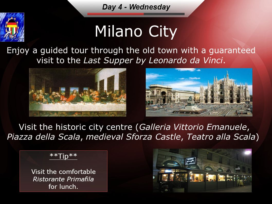 Milano City Enjoy a guided tour through the old town with a guaranteed visit to the Last Supper by Leonardo da Vinci.