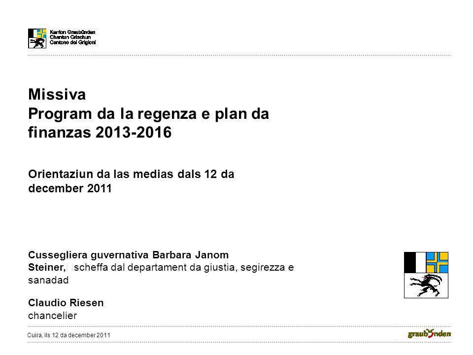 Missiva Program da la regenza e plan da finanzas 2013-2016 Orientaziun da las medias dals 12 da december 2011 Cussegliera guvernativa Barbara Janom St
