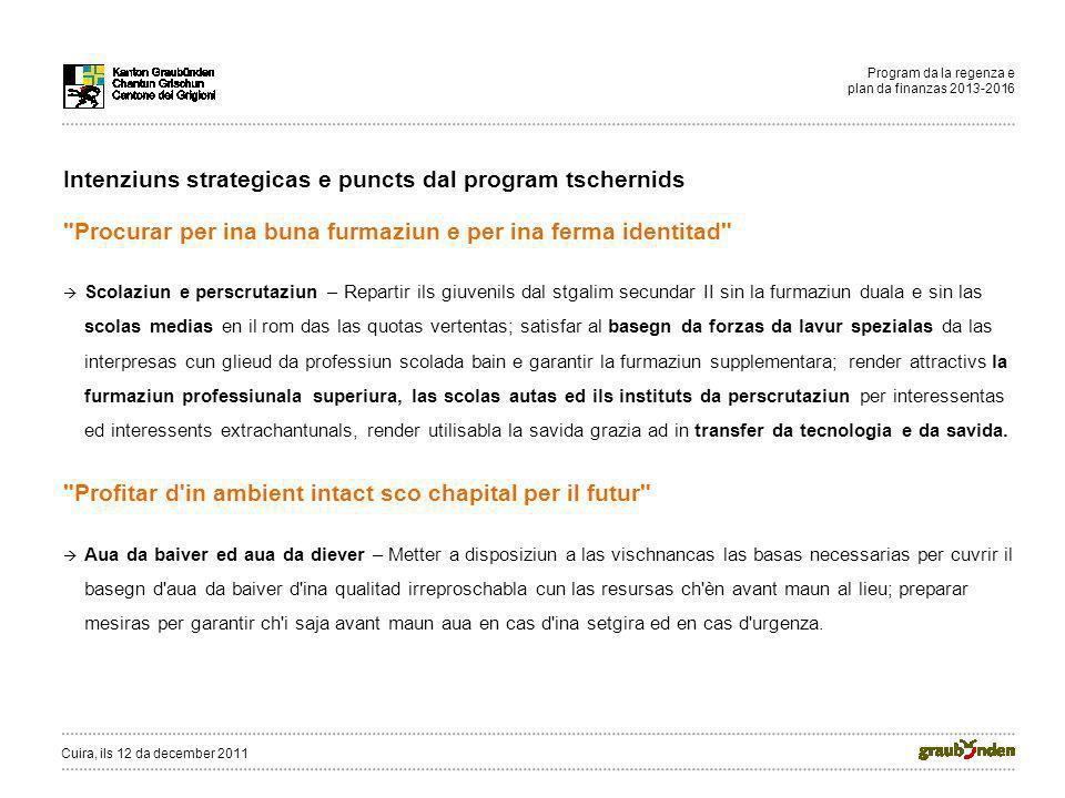 Program da la regenza e plan da finanzas 2013-2016 Intenziuns strategicas e puncts dal program tschernids