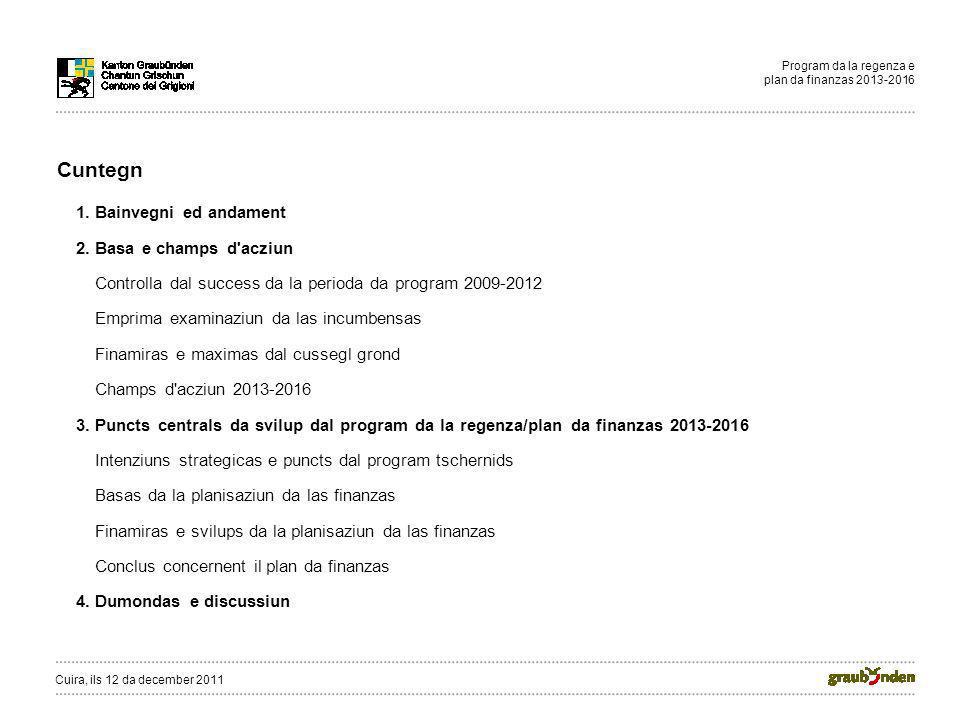 Program da la regenza e plan da finanzas 2013-2016 Cuntegn 1. Bainvegni ed andament 2. Basa e champs d'acziun Controlla dal success da la perioda da p