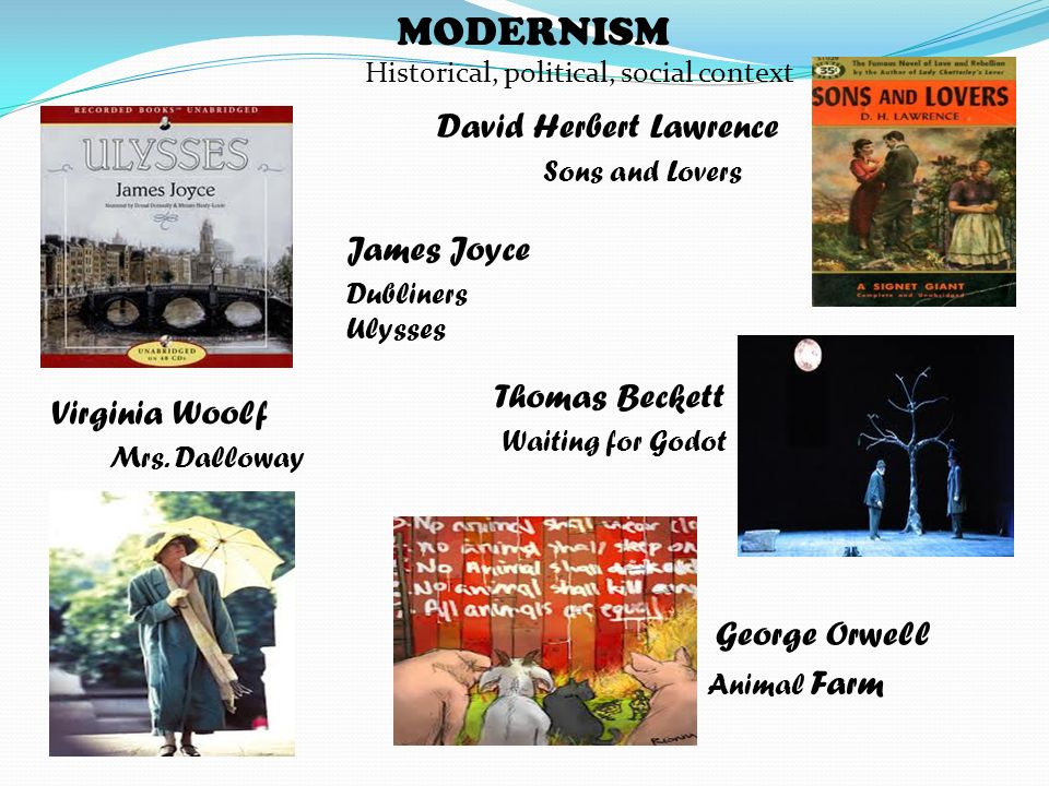 MODERNISM Historical, political, social context David Herbert Lawrence Sons and Lovers James Joyce Dubliners Ulysses Virginia Woolf Mrs. Dalloway Thom