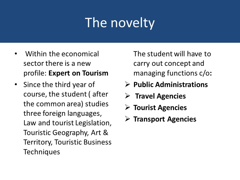 The novelty Within the economical sector there is a new profile: Expert on Tourism Since the third year of course, the student ( after the common area) studies three foreign languages, Law and tourist Legislation, Touristic Geography, Art & Territory, Touristic Business Techniques The student will have to carry out concept and managing functions c/o: Public Administrations Travel Agencies Tourist Agencies Transport Agencies
