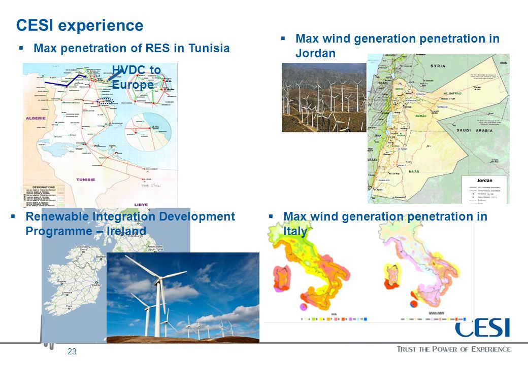 23 CESI experience HVDC to Europe Max penetration of RES in Tunisia Max wind generation penetration in Jordan Renewable Integration Development Progra