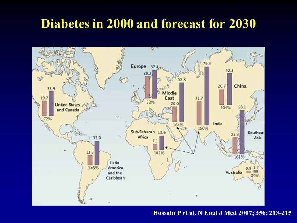 Hossain P et al. N Engl J Med 2007; 356: 213-215 Diabetes in 2000 and forecast for 2030