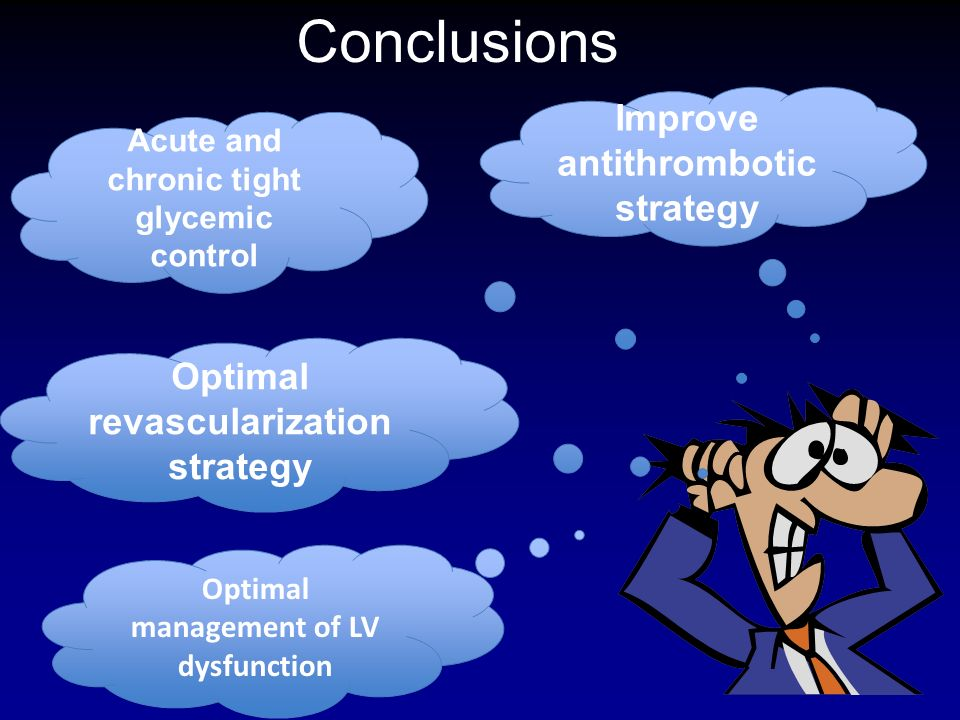 Improve antithrombotic strategy Acute and chronic tight glycemic control Optimal management of LV dysfunction Optimal revascularization strategy Concl