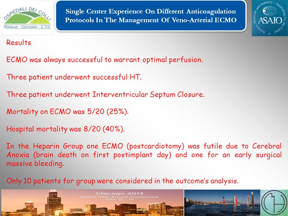 Single Center Experience On Different Anticoagulation Protocols In The Management Of Veno-Arterial ECMO Single Center Experience On Different Anticoagulation Protocols In The Management Of Veno-Arterial ECMO Results ECMO was always successful to warrant optimal perfusion.