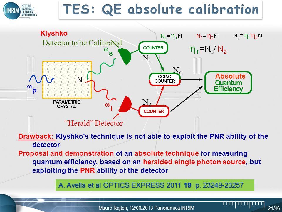 Mauro Rajteri, 12/06/2013 Panoramica INRIM 21/46 p i s PARAMETRIC CRYSTAL COUNTER COINC COUNTER Absolute Quantum Efficiency COUNTER N Detector to be C