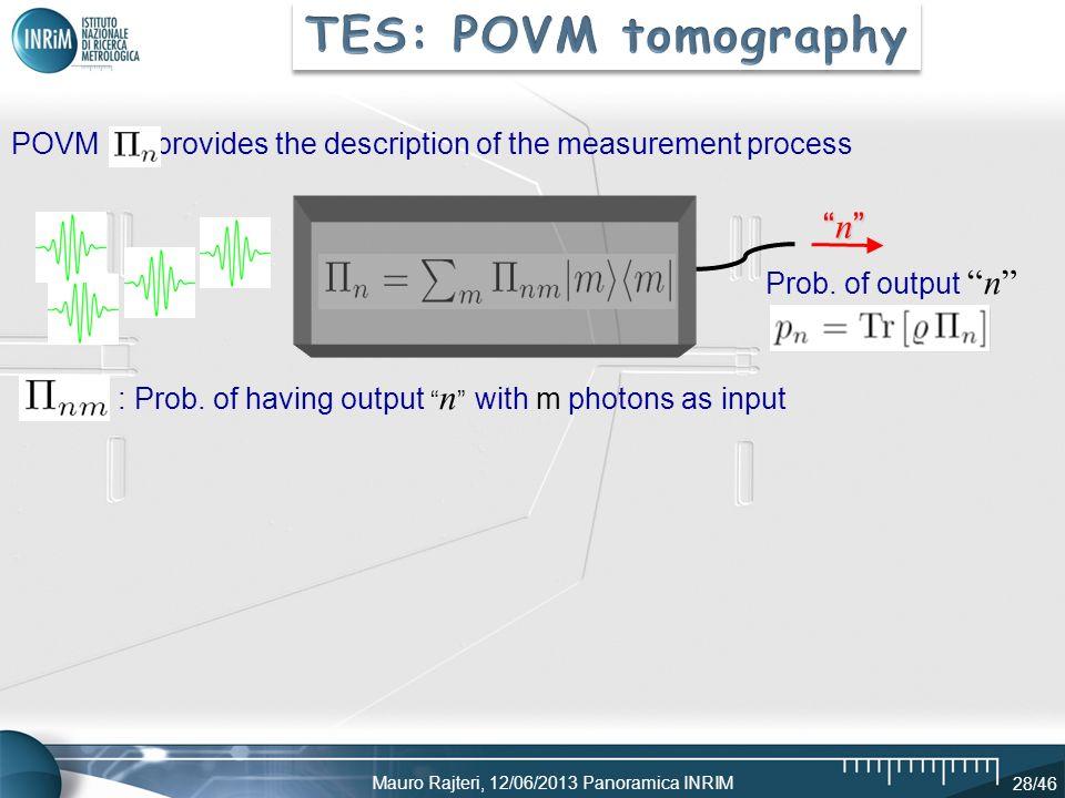 Mauro Rajteri, 12/06/2013 Panoramica INRIM 28/46 n n POVM provides the description of the measurement process Prob. of outputn : Prob. of having outpu