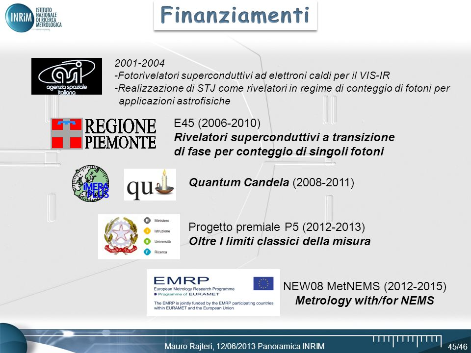 Mauro Rajteri, 12/06/2013 Panoramica INRIM 45/46 Progetto premiale P5 (2012-2013) Oltre I limiti classici della misura NEW08 MetNEMS (2012-2015) Metro