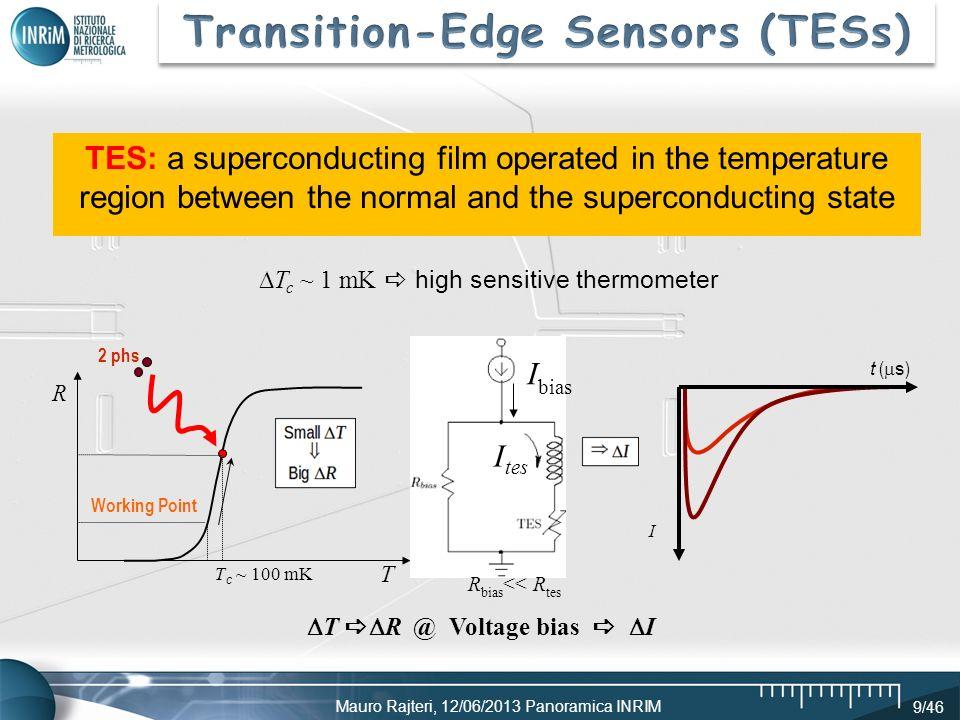 Mauro Rajteri, 12/06/2013 Panoramica INRIM 9/46 T T c ~ 1 mK high sensitive thermometer T R @ Voltage bias I T c ~ 100 mK R I bias t ( s ) I 2 phs Wor
