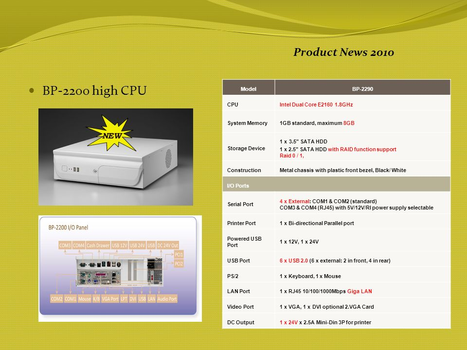 BP-2200 high CPU Product News 2010 ModelBP-2290 CPUIntel Dual Core E2160 1.8GHz System Memory1GB standard, maximum 8GB Storage Device 1 x 3.5 SATA HDD 1 x 2.5 SATA HDD with RAID function support Raid 0 / 1, ConstructionMetal chassis with plastic front bezel, Black/ White I/O Ports Serial Port 4 x External: COM1 & COM2 (standard) COM3 & COM4 (RJ45) with 5V/12V/RI power supply selectable Printer Port1 x Bi-directional Parallel port Powered USB Port 1 x 12V, 1 x 24V USB Port 6 x USB 2.0 (6 x external: 2 in front, 4 in rear) PS/21 x Keyboard, 1 x Mouse LAN Port 1 x RJ45 10/100/1000Mbps Giga LAN Video Port1 x VGA, 1 x DVI optional 2.VGA Card DC Output1 x 24V x 2.5A Mini-Din 3P for printer