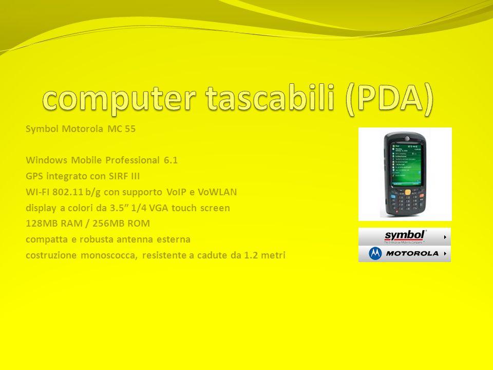 Symbol Motorola MC 55 Windows Mobile Professional 6.1 GPS integrato con SIRF III WI-FI 802.11 b/g con supporto VoIP e VoWLAN display a colori da 3.5 1/4 VGA touch screen 128MB RAM / 256MB ROM compatta e robusta antenna esterna costruzione monoscocca, resistente a cadute da 1.2 metri