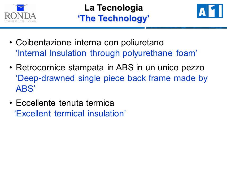 Coibentazione interna con poliuretano Internal Insulation through polyurethane foam Retrocornice stampata in ABS in un unico pezzo Deep-drawned single piece back frame made by ABS Eccellente tenuta termica Excellent termical insulation La Tecnologia The Technology