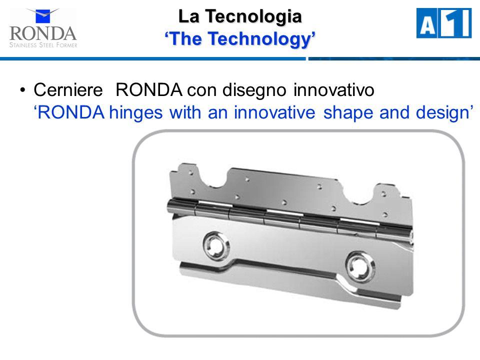 Cerniere RONDA con disegno innovativo RONDA hinges with an innovative shape and design La Tecnologia The Technology