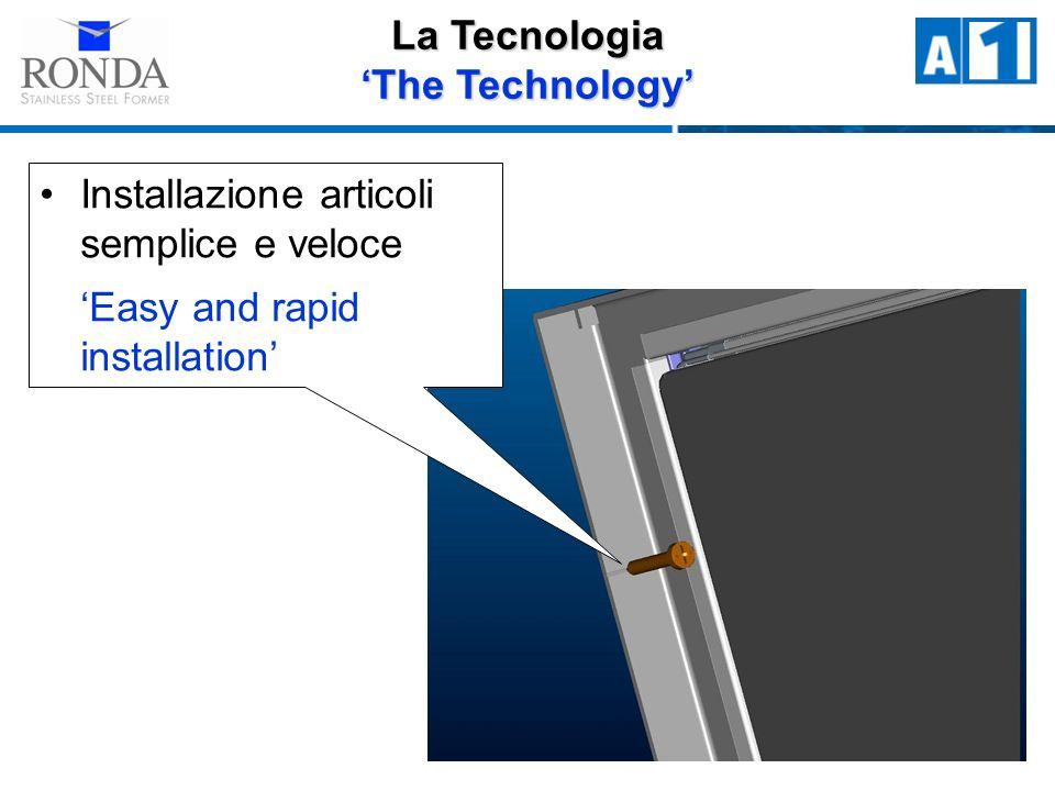 La Tecnologia The Technology Installazione articoli semplice e veloce Easy and rapid installation