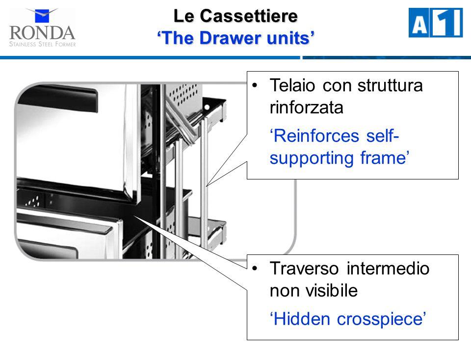 Telaio con struttura rinforzata Reinforces self- supporting frame Traverso intermedio non visibile Hidden crosspiece Le Cassettiere The Drawer units