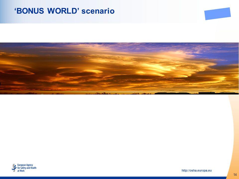 14 http://osha.europa.eu BONUS WORLD scenario