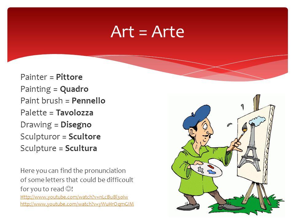Painter = Pittore Painting = Quadro Paint brush = Pennello Palette = Tavolozza Drawing = Disegno Sculpturor = Scultore Sculpture = Scultura Here you c