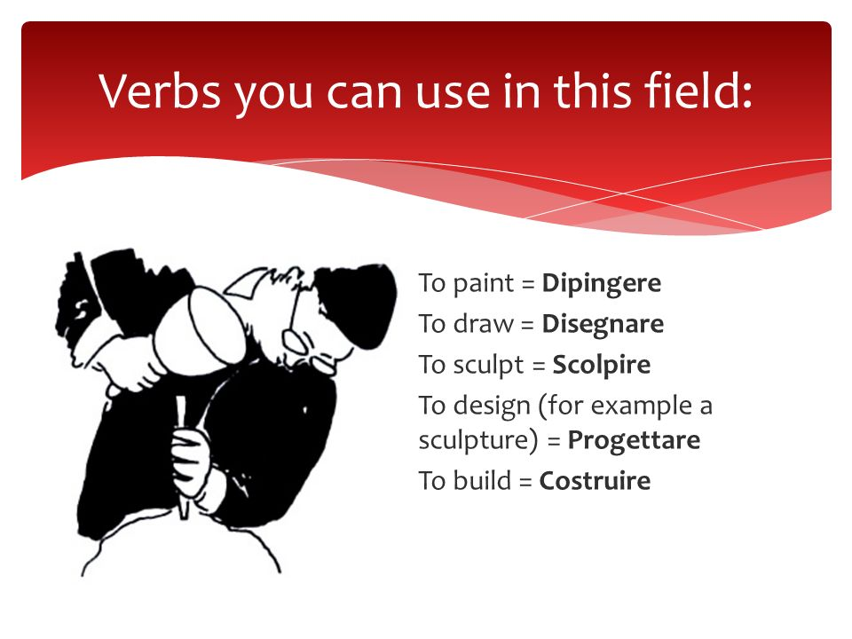 To paint = Dipingere To draw = Disegnare To sculpt = Scolpire To design (for example a sculpture) = Progettare To build = Costruire Verbs you can use
